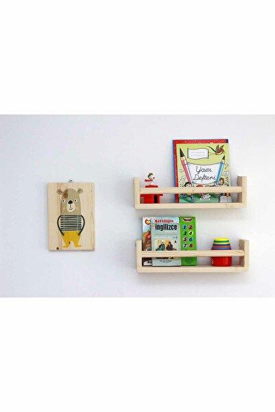 Ceebebek Ahşap Bebek Çocuk Odası Duvar Rafı Kitaplık Eğitici Montessori 2 'li Raf CEEN2CBR40999