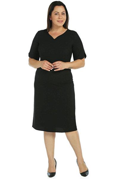 Nidya Moda Kadın Siyah Kol Yaka Ayraç Abiye Elbise 4067S