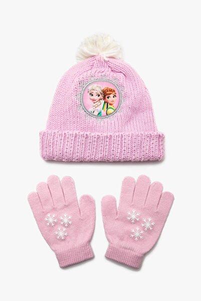 Koton Kids Pembe Kız Çocuk Frozen Baskili Bere Seti