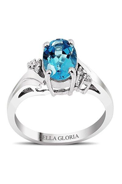 Bella Gloria Mavi Topaz Tektaş Pırlanta Yüzük (GPY0028)