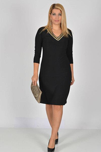 Nidya Moda Büyük Beden Siyah V Taşlı Abiye Elbise-4039s
