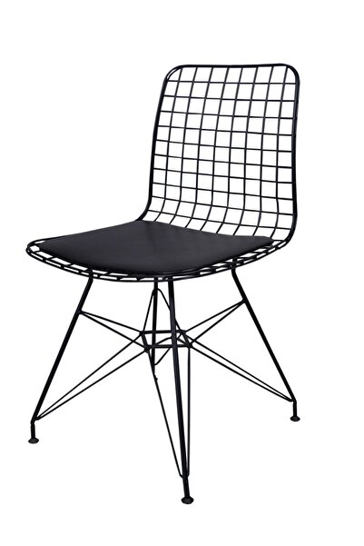 Evdemo Dekor Siyah Tel Metal Sandalye