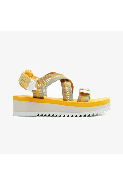 Tommy Hilfiger Kadın Lurex Webbing Strappy  Turuncu Sandalet
