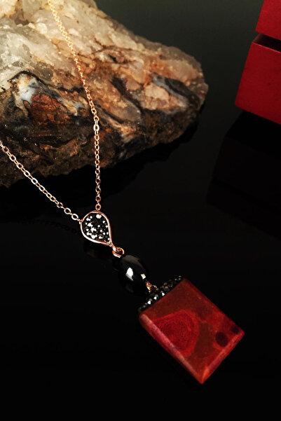 Dr. Stone Kadın Doğaltaş Mercan Taşı Rose Altın Kaplama Kolye Krb166