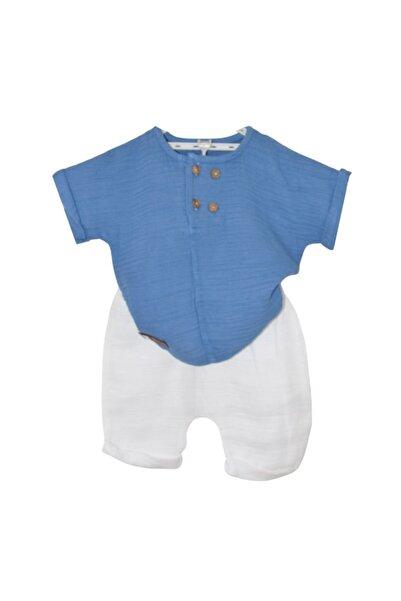 Minytrendy Müslin Tişört Pantolon Ikili Bebek Takım Mavi
