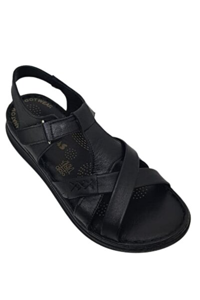 VİS Kadın Siyah Ortopedik Hakiki Deri Sandalet