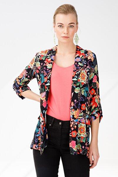 Ekol Kadın Siyah Desenli Ceket