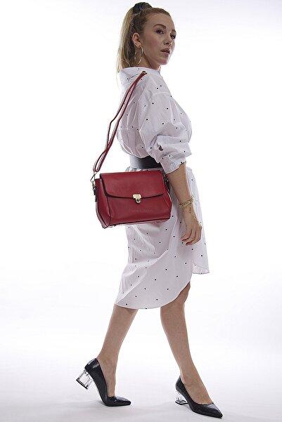 Kadın Kırmızı Bölmeli Fermuarlı Askılı Çanta