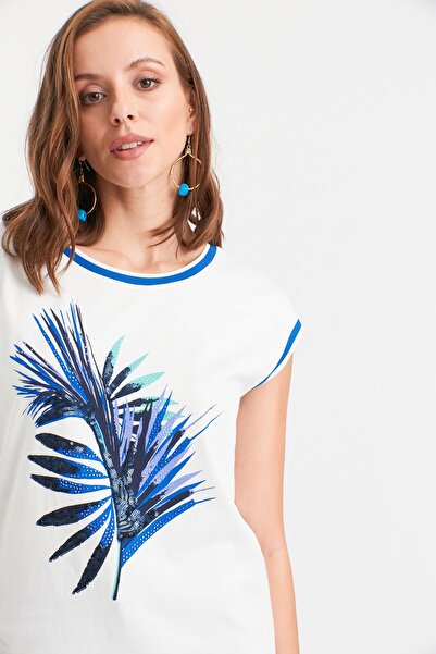 Hanna's by Hanna Darsa Yaprak Desenli T-shirt