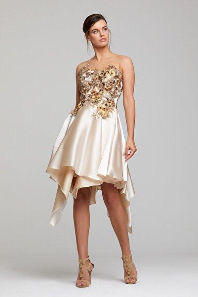 RENGIN Robası Çiçek Aplikeli Eteği Volanlı Elbise
