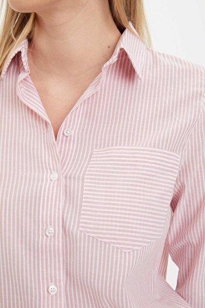 Kadın Bordo Çizgili Uzun Kollu Gömlek R2530AZ20AU