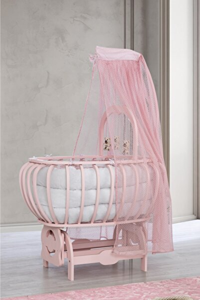 Setay Beşik, Mdf Lux Bombeli Sepet Beşik Oyuncaklı Pembe + Yatak + Cibinlik, Bebek Odası
