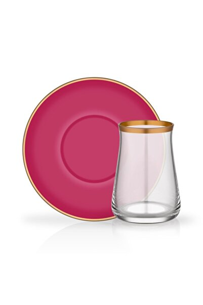 Glore Fuşya Tarabya 12 Parça Çay Bardağı Seti