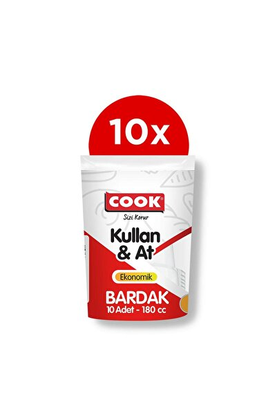 COOK 10'lu Eko Plastik Bardak Beyaz 180 Cc 10'lu Paket