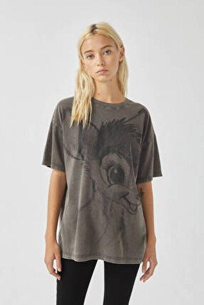 Kadın Soluk Siyah Bambi Görselli Siyah T-Shirt 09247308