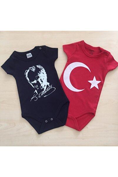 Melekpare Ay Yıldız Atatürk Baskılı Pamuklu Unisex Bebek Body Zıbın