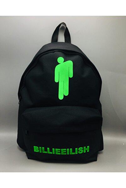 Köstebek Billie Eilish Siyah Üzerine Yeşil Baskı Sırt Çantası