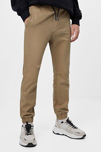 Bershka Kadın Deve Tüyü Rengi Slim Fit Jogging Fit Pantolon
