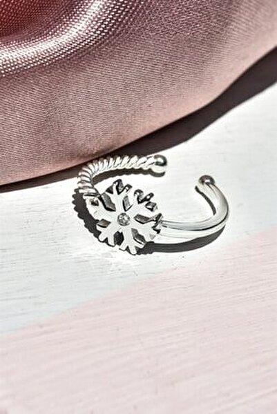Ayarlanabilir Kar Tanesi Model Zirkon Taşlı Gümüş Yüzük