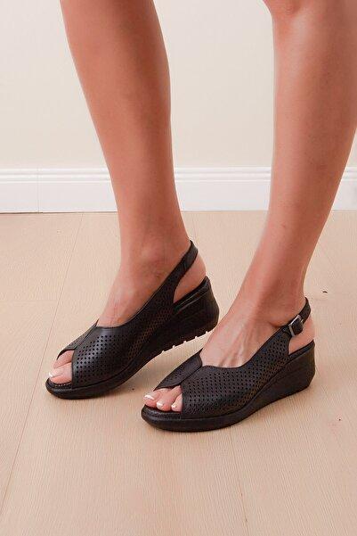 Shoes Time Kadın Siyah Burnu Açık Sandalet