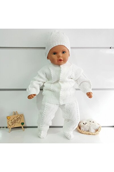 bebegen Beyaz Bebek Triko 4 Lü Takım