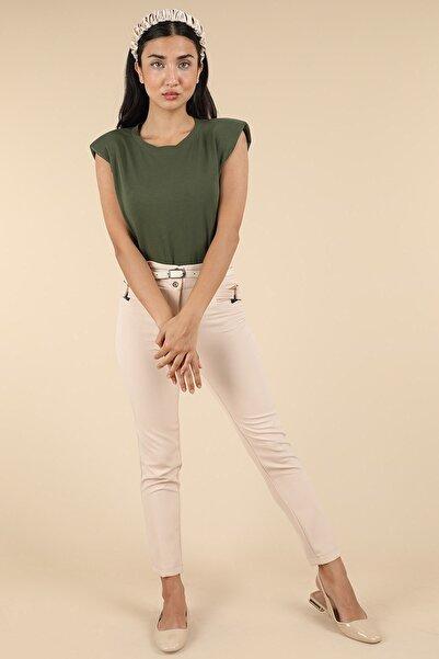 Oblavion Kadın Bej Klasik Kumaş Pantolon