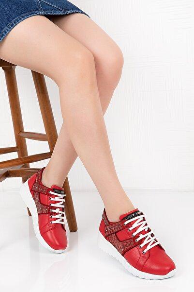 Gondol Hakiki Deri Taş Ayrıntılı Spor Ayakkabı
