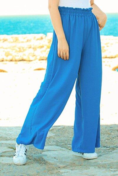 Madmext Kadın Mavi Mad Girls Indigo Beli Büzgülü Pantolon Mg625-3