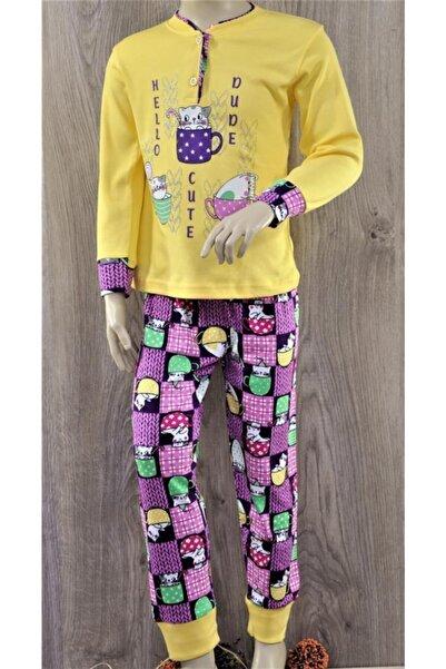 Tarık Yeni Sezon %100 Pamuklu Interlok Kız Çocuk Fincanlı Kedi Uzun Kollu Pijama Takımı-1406/07