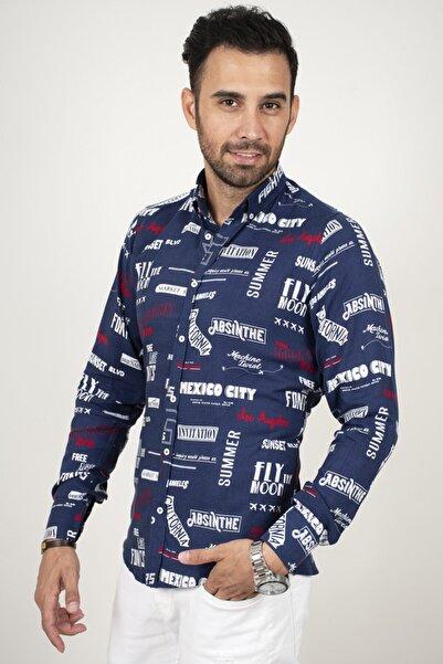 DeepSEA Erkek Lacivert Yazılı Regular Fit Gömlek 2006000