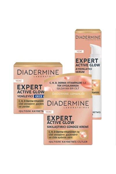 Diadermine Expert Active Glow Sıkılaştırıcı Gündüz Kremi + Gece Kremi + Serum
