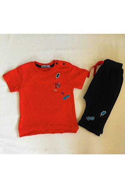 Popolin Erkek Çocuk Kırmızı Yarım Kollu Şortlu Takım