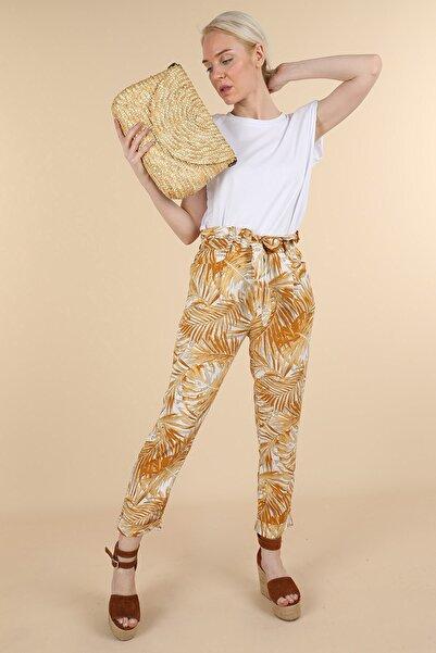 Oblavion Kadın Hardal Desenli Cepli Pantolon