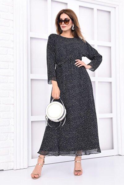 Kadın Siyah Puantiyeli Kuşaklı Uzun Elbise