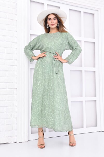 Kadın Mint Puantiyeli Kuşaklı  Uzun Elbise