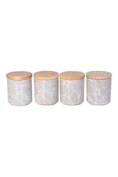 İpek Porselen 4'lü Baharatlık Bambu Kapaklı