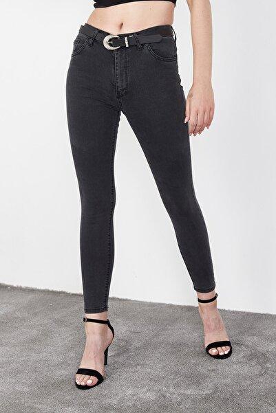 Kadın Antrasit Yüksek Bel Skinny Jeans