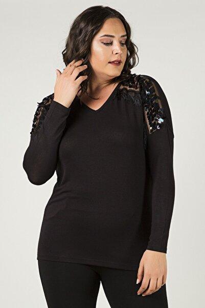 Womenice Kadın Siyah Büyük Beden Omuzları Pullu Püsküllü Bluz