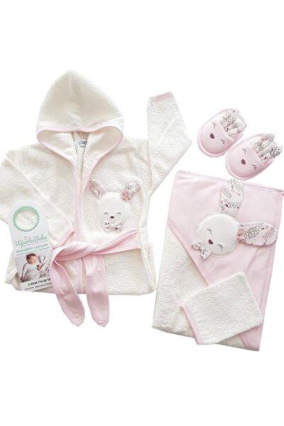 Gaye Bebe Tavşanlı 4 Parça Bornoz Set