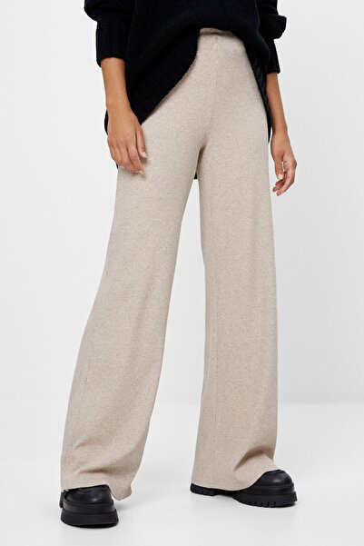 Bershka Kadın Kum Rengi Geniş Paça Pantolon