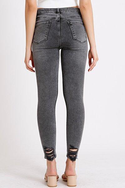Kadın Füme Yüksek Bel Slim Fit Paça Yırtık Detaylı Denim Kot Jeans 1046