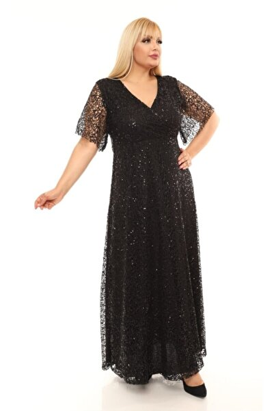 ZEYN TEKSTİL Kadın Siyah Uzun Degaje Payetli Büyük Beden Abiye Elbise