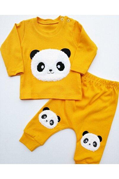 Dombili BebekUnisex Sarı Panda Nakışlı Takım