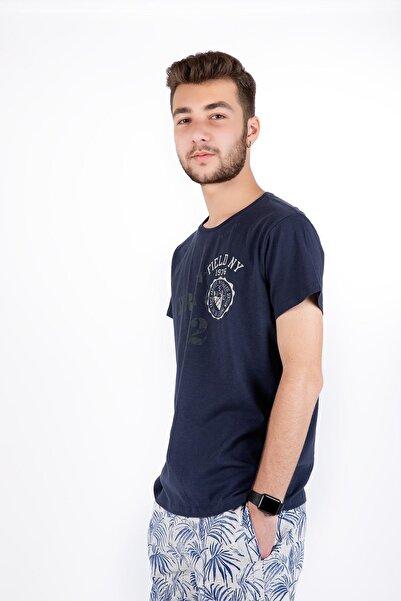 Erkek Lacivert Trac 50 Yazılı Sıfır Yaka Kısa Kol T-Shirt