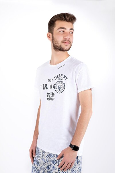 Erkek Beyaz Trac 50 Yazılı Sıfır Yaka Kısa Kol Tshirt 20429