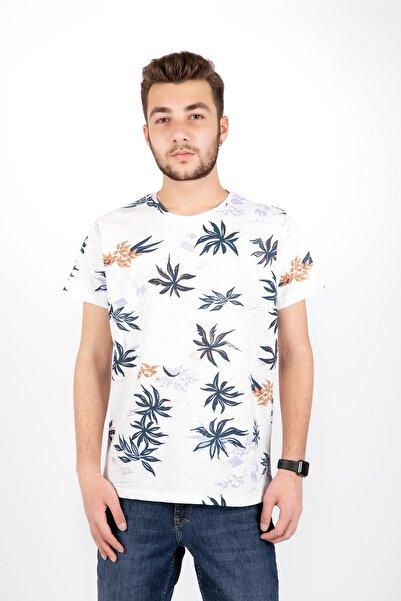 Erkek Beyaz Sıfır Yaka Dal Baskılı Kısa Kol Tshirt 20566