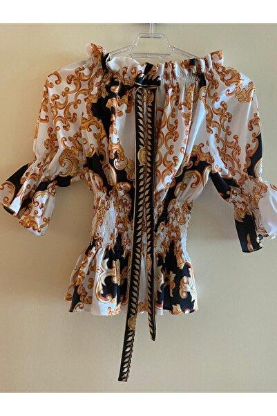 Akel's by Ebru Akel Kadın Beyaz Desenli Saten Bluz