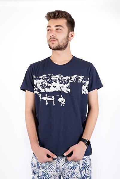 Erkek Lacivert Sıfır Yaka Sörf Tişört