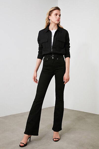 TRENDYOLMİLLA Siyah Yüksek Bel Flare Jeans TWOSS19LR0284