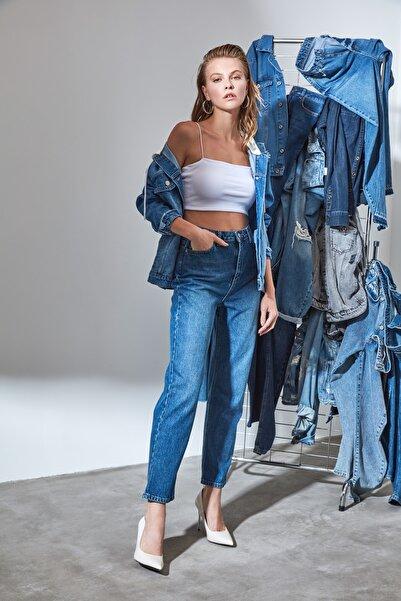 Lacivert Yüksek Bel Straight Jeans TWOSS20JE0166
